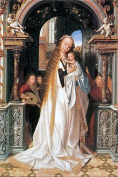 Quinten Metsys (Netherlandish painter, 1466-1530) Madonna and Child Surrounded by Angels