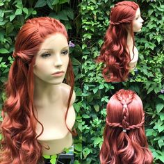 Items similar to Tauriel Hobbit Wig Red Braid Elf Lace Front on Etsy Cute Hairstyles Updos, Wedding Hairstyles, Gypsy Hairstyles, Gorgeous Hairstyles, Deep Auburn Hair, Elf Hair, Volleyball Hairstyles, Medieval Hairstyles, Viking Braids