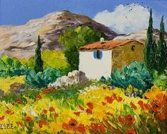 Romantic Summer in Provence, Modern French Landscape Oil Painting