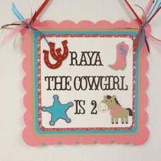 Cowgirl Western Door Welcome Sign Birthday Party Shower Horse Pony Pink Teal Red on Etsy, $12.00