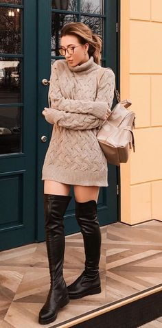 #winter #outfits brown turtleneck long-sleeved dress
