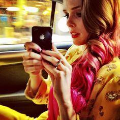 coco rocha's pink hair.