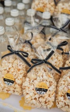 Late night snack-popcorn and water bottles with customized label for your wedding