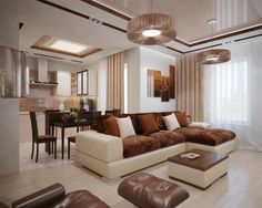 wohnzimmereinrichtung ideen braun creme wohnküche essbereich