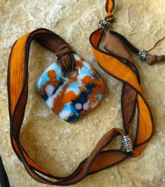 Fused Glass Donut Pendant  Stone Look Glass Pendant  by GlassCat, $40.00