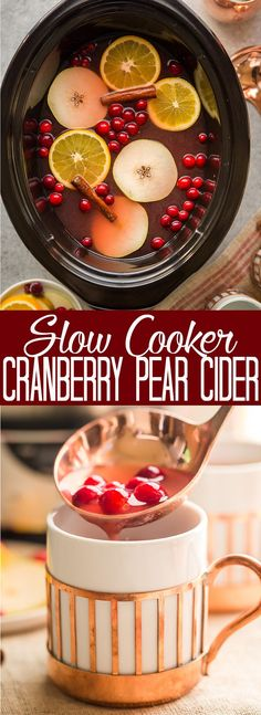 This Crock Pot Cranberry Pear Cider is made from scratch in your slow cooker! A festive, warm fall and winter beverage, perfect for Thanksgiving or Christmas! |crock pot recipe | Slow Cooker Recipe | Cider in the crockpot | slow cooker cider recipe | fall drink | warm drinks | non-alcoholic drink for christmas | thanksgiving drink