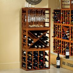 Cube-Stack Wine Bottle & Stemware Rack Set (Walnut Stain) - Wine Enthusiast Another modular system - you could forego the stemware cube for more wine if you wanted to. Two would fit side by side on that wall.