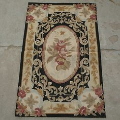 2'x3' Handmade French Aubusson Design Roses Black Wool Needlepoint Rug~New