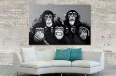 Interior :: Obraz olejny dekoracyjny Monkey Family black and white 80x120cm (Z30071)