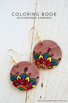 These DIY coloring-book styled woodburned earrings are perfect for coloring-book lovers!