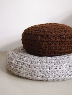 Knit some iCord, then crochet the cord into some Giant Poufs to throw around the TV room