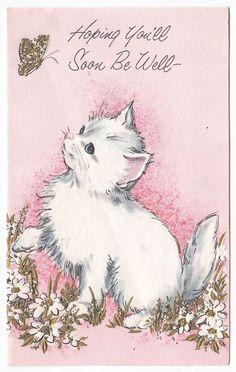 Vintage Greeting Card Cute White Kitten Cat Glitter Pink Flowers ButterflyL19