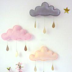 3x pioggia primavera capricciosa nuvole Mobiles di leptitpapillon