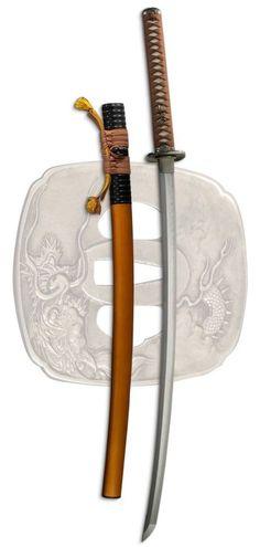 Tatsumaki katana by Dragon King. T10 steel. Dragon, cloud and lightning motif. http://getasword.com/dragon-king-samurai-swords/3842-tatsumaki-katana.html