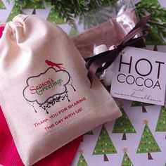 Personalized Hot Cocoa Muslin Bags with Marshmallows