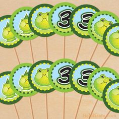 frog cupcake toppers.