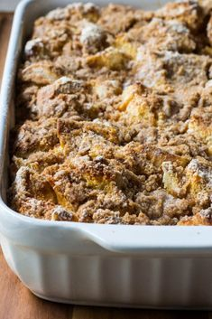 Overnight Challah French Toast Casserole - Overnight French Toast Casserole in a baking pan - Crockpot French Toast, Cinnamon Roll French Toast, Pumpkin French Toast, Overnight French Toast, French Toast Bake, Gluten Free French Toast, Healthy French Toast, Challah French Toast Casserole, Baking Pan