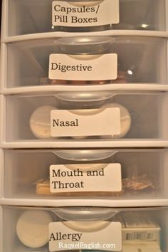 Organize your medicine cabinet. Allison adds: Ive got bins like this for: Cold meds, Non-cold meds, first aid, bandages and splints (after this many years we have a big collection).