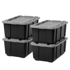 Iris 27 Gallon Utility Tough Tote, 4 Pack, Black with Gray Lid, Grey