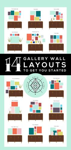 Where to even start with a gallery wall? Try one of these 14 tried-and-true gallery wall layouts — a layout for every personality. Cute Dorm Rooms, Cool Rooms, Living Room Designs, Living Room Decor, Living Room Gallery Wall, Photowall Ideas, Gallery Wall Layout, Gallery Walls, Gallery Wall Art