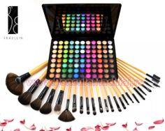 Trusa Farduri 88 culori sidefate Fraulein38 + 24 pensule machiaj lemn lacuit Art Supplies, Triangle, Kiss, Kisses, A Kiss