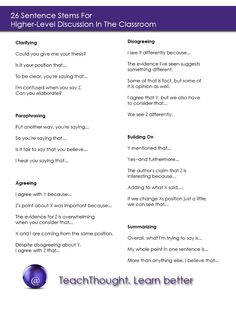 26 Sentence Stems For Higher-Level Discussion In The Classroom