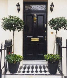 English Roses & French Rose- English Roses & French Rose Black front door in London Photo by Christina Dandar for The Potted Boxwood - Front Door Entrance, House Front Door, Front Door Decor, Entry Doors, Garage Doors, Entryway, Entry Hallway, Front Entry, Foyer