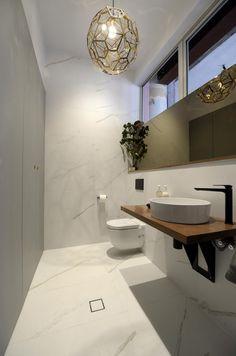The Block Glasshouse: Staircase, laundry & powder room reveals – The Interiors Addict - checvas. Bathroom Renos, Laundry In Bathroom, Small Bathroom, Bathroom Tapware, Bathroom Remodelling, Tile Bathrooms, Condo Bathroom, Beach Bathrooms, Laundry Rooms