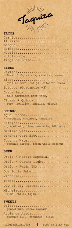 taquiza menu minus the beer