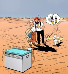 1979 – De l'eau ! • Water ! Dessin publicitaire inspiré du « Crabe aux pinces d'or » réalisé pour la marque Campingaz. #tintin #herge