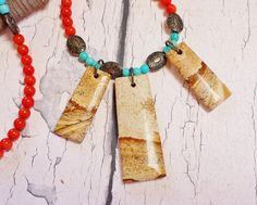 $44.95 ~ Native American Red Coral & Turquoise Fringe Necklace ~ Personalized Southwest Style Picture Jasper Pendant ~ Boho-Chic Statement Necklace ~ Use discount code PIN10 for 10% off in my Etsy shop