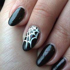 You could easily draw on your own web with a toothpick! #diy #nails #nailart