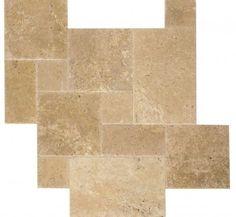 Brushed & Chiseled French Pattern Walnut Travertine #Tiles.
