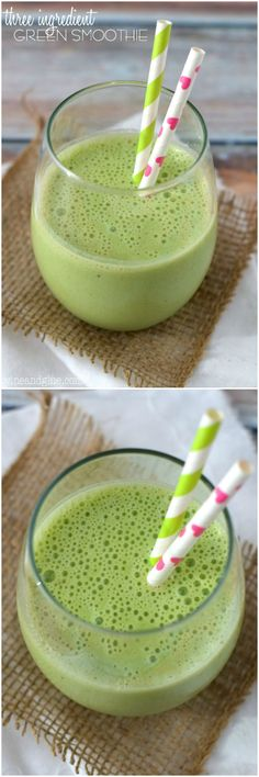 This three ingredient green smoothie is PACKED with spinach, but tastes like total deliciousness!: