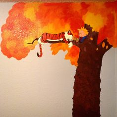 Not an original idea, but here's our Calvin and Hobbes mural for our baby's room! - Imgur
