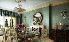Scott Snyder, Inc designing pure Palm Beach fantasy in this spectacular turquoise dining room. Turquoise Dining Room, Gracie Wallpaper, Wall Wallpaper, Beach Chic Decor, Traditional Dining Rooms, New York City Apartment, City Apartments, Victorian Decor, Victorian Dining Rooms