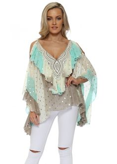 MY STORY Mint Ombre Gold Foil Ruffle Cold Shoulder Top