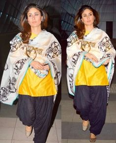 Kareena Kapoor Wear Beautiful Patiala Salwar Kameez New Fashion Suits by Bollywood Designers-6