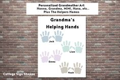 Grandma's Helping Hands, Mothers Day Gift Ideas, Gifts For  Grandmothers,INSTANT DOWNLOAD, Grandmother Gifts, Personalized Gifts,Nonna Gifts by CottageArtShoppe on Etsy