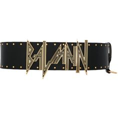 Balmain embossed logo waist belt ($1,504) ❤ liked on Polyvore featuring accessories, belts, black, balmain, leather snap belt, leather waist belt, studded waist belt and genuine leather belt
