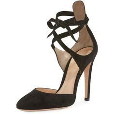 Gianvito Rossi Suede Ankle-Wrap d'Orsay Pump (1 544 AUD) ❤ liked on Polyvore featuring shoes, pumps, black, black high heel shoes, ankle strap high heel pumps, black shoes, black round toe pumps and self tying shoes