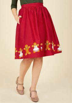 Vintage Christmas Gift Ideas for Women One Sharp Cookie A-Line Skirt $59.99 AT vintagedancer.com