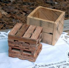 Miniature Pallet Coaster Set with Storage Box on Etsy, $29.00