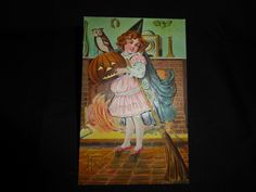 Vintage Halloween Postcard-WOB--Beautiful Face On New Young Witch