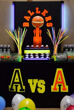 Basketball, glow in the dark Birthday Party Ideas   Photo 2 of 18   Catch My Party