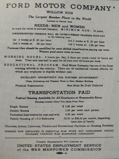 World War II era worker recruitment flyer for Ford's Willow Run Bomber Plant in Ypsilanti, Michigan