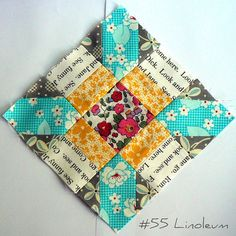 Lovely fabric combo in this block.  The colors are so pretty!