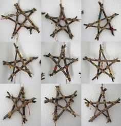 stick stars - how cute would these look with just these  white lights and burlap?
