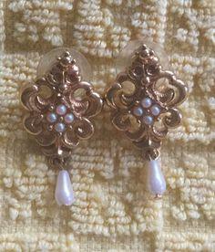 Stunning Avon Filigree Drop Pierced Earrings Faux Pearl Beads Vintage Signed | eBay