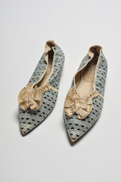 Shoes c. 1800. Worthing Museum and Art Gallery.